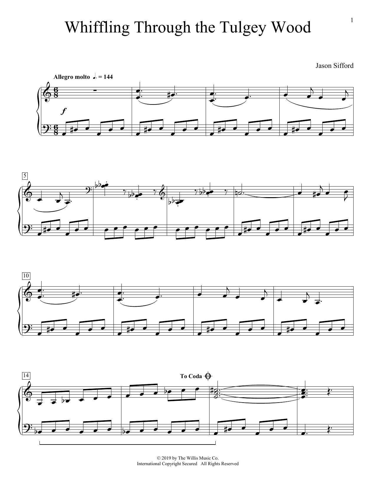 Jason Sifford Whiffling Through The Tulgey Wood sheet music preview music notes and score for Educational Piano including 2 page(s)
