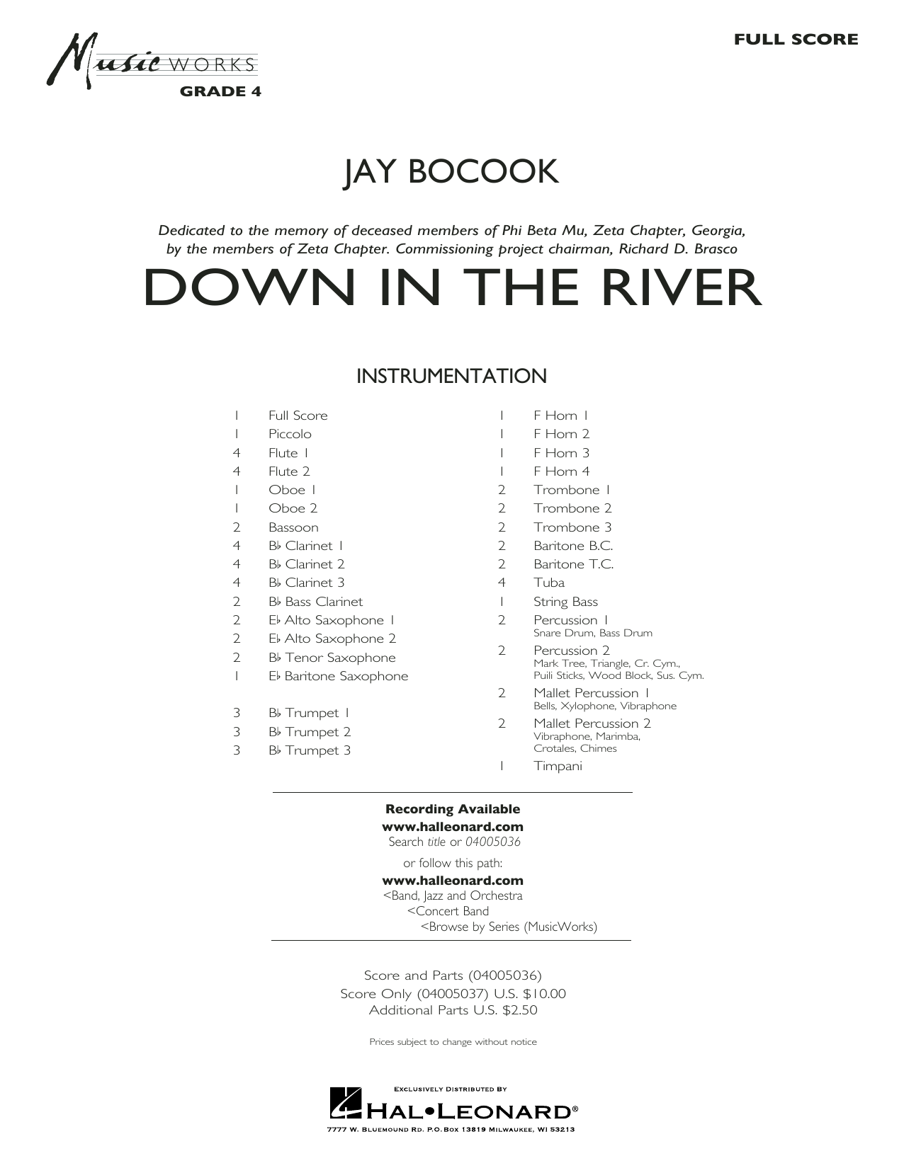 Jay Bocook Down in the River - Conductor Score (Full Score) sheet music preview music notes and score for Concert Band including 36 page(s)