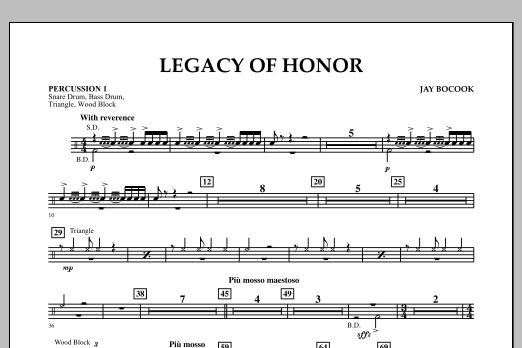 Jay Bocook Legacy of Honor - Percussion 1 sheet music notes and chords