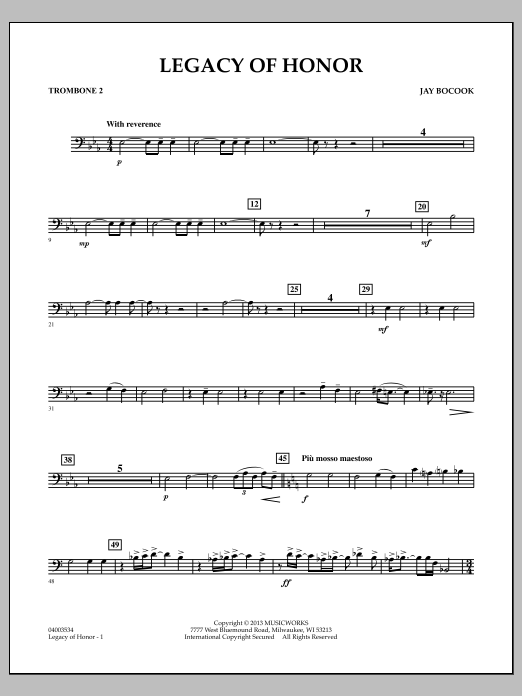 Jay Bocook Legacy of Honor - Trombone 2 sheet music notes and chords