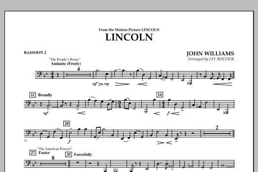 Jay Bocook Lincoln - Bassoon 2 sheet music notes and chords