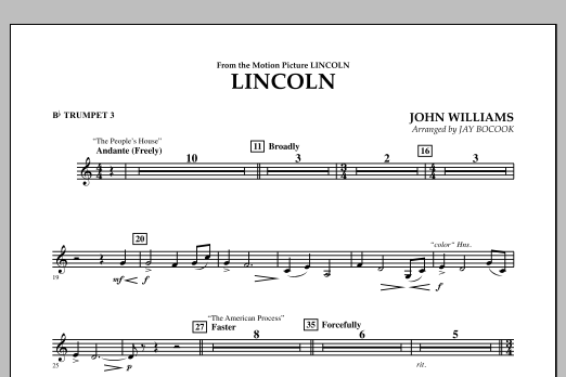 Jay Bocook Lincoln - Bb Trumpet 3 sheet music notes and chords