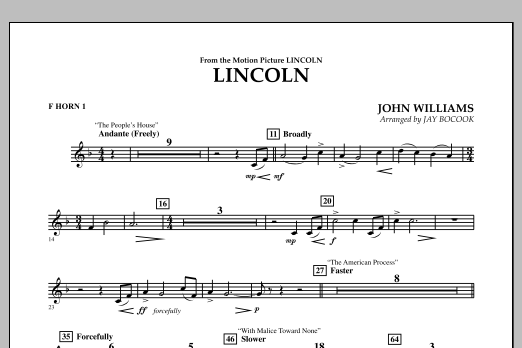 Jay Bocook Lincoln - F Horn 1 sheet music notes and chords