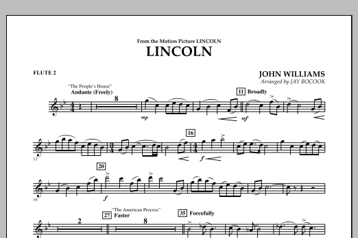 Jay Bocook Lincoln - Flute 2 sheet music notes and chords