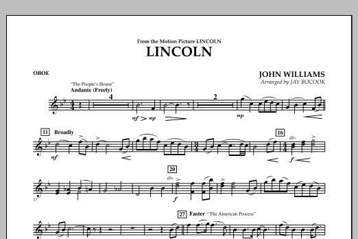 Jay Bocook Lincoln - Oboe sheet music notes and chords