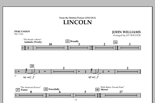 Jay Bocook Lincoln - Percussion sheet music notes and chords