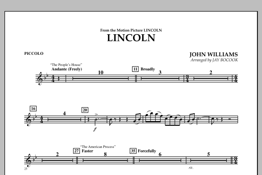 Jay Bocook Lincoln - Piccolo sheet music notes and chords