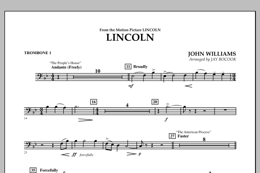 Jay Bocook Lincoln - Trombone 1 sheet music notes and chords