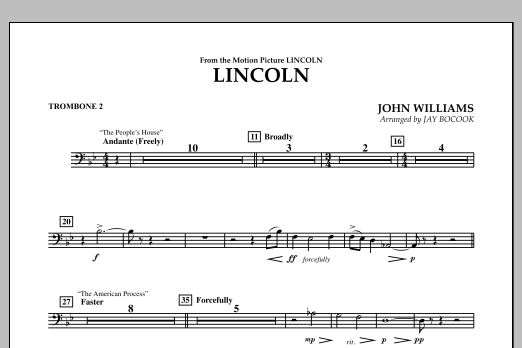 Jay Bocook Lincoln - Trombone 2 sheet music notes and chords