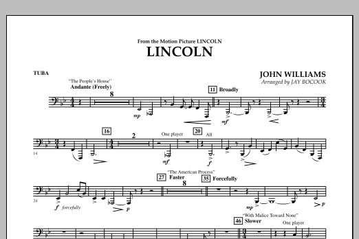 Jay Bocook Lincoln - Tuba sheet music notes and chords
