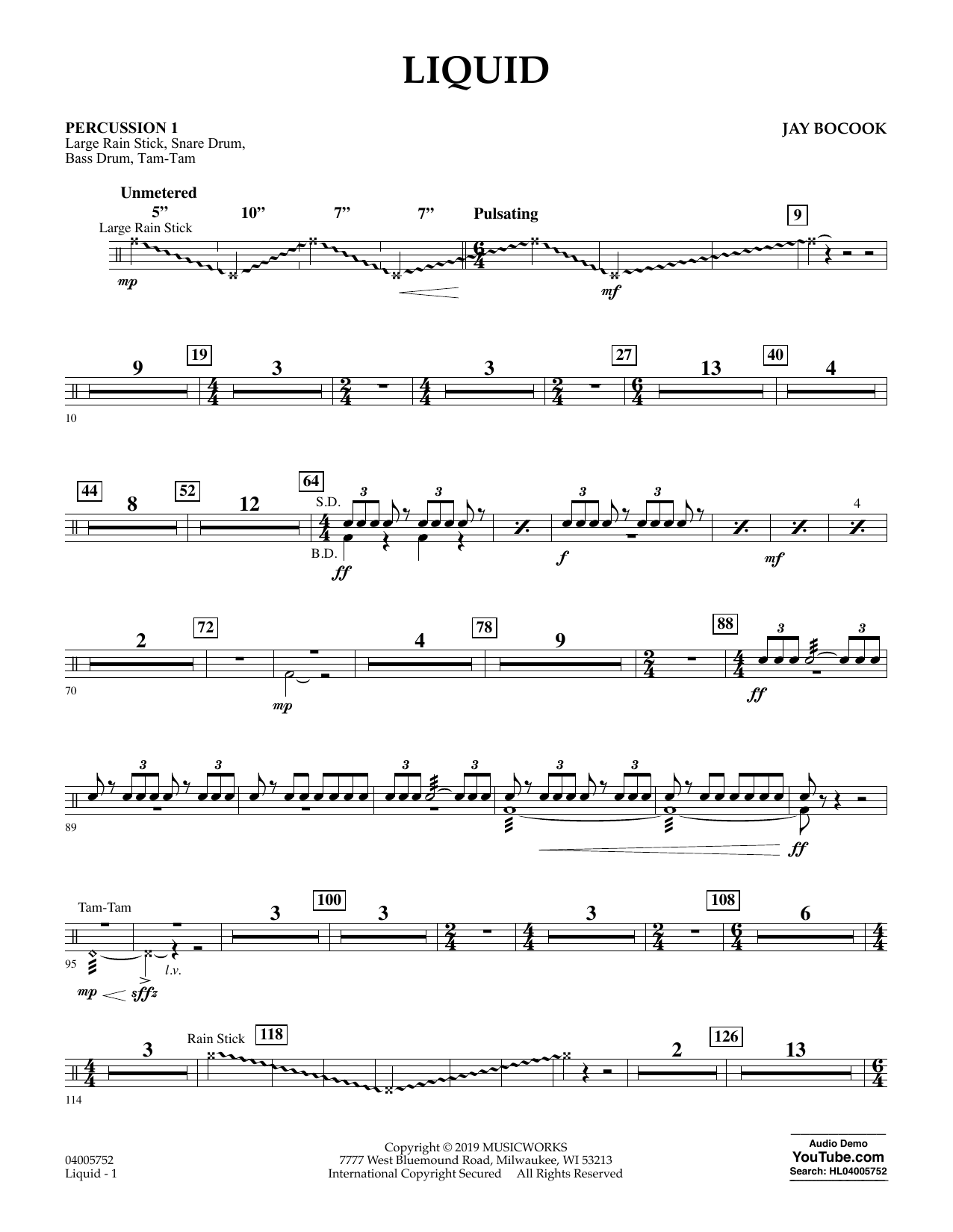 Jay Bocook Liquid - Percussion 1 sheet music preview music notes and score for Concert Band including 2 page(s)