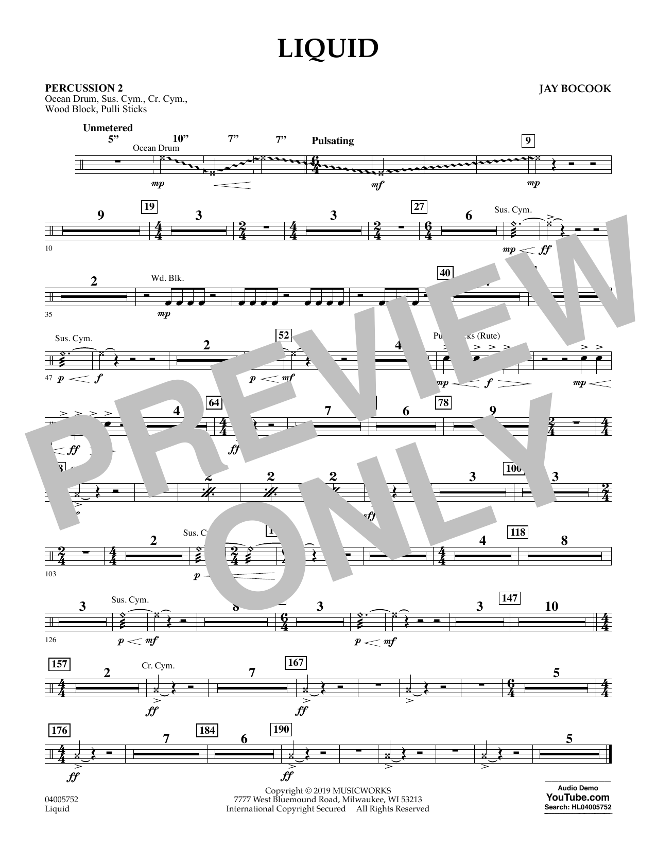 Jay Bocook Liquid - Percussion 2 sheet music preview music notes and score for Concert Band including 1 page(s)