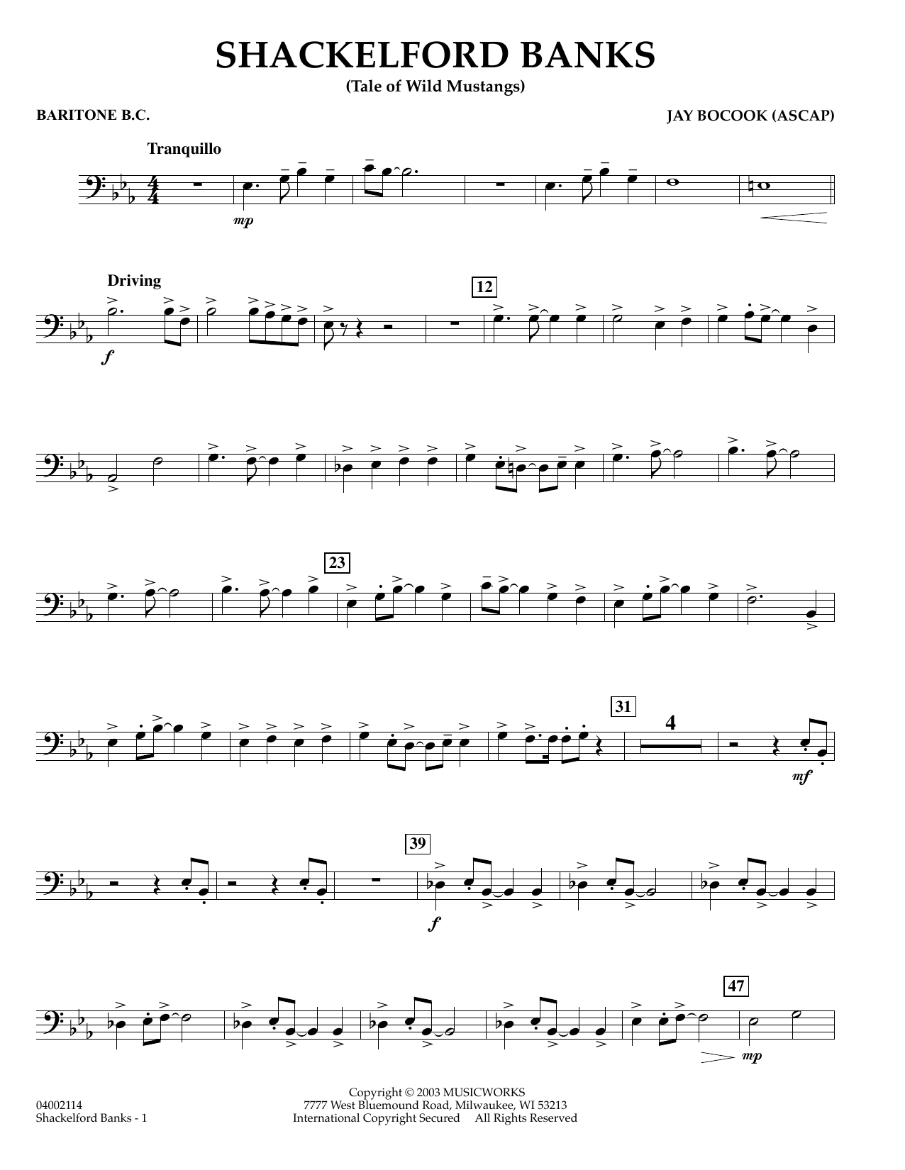 Jay Bocook Shackelford Banks - Baritone B.C. sheet music preview music notes and score for Concert Band including 2 page(s)