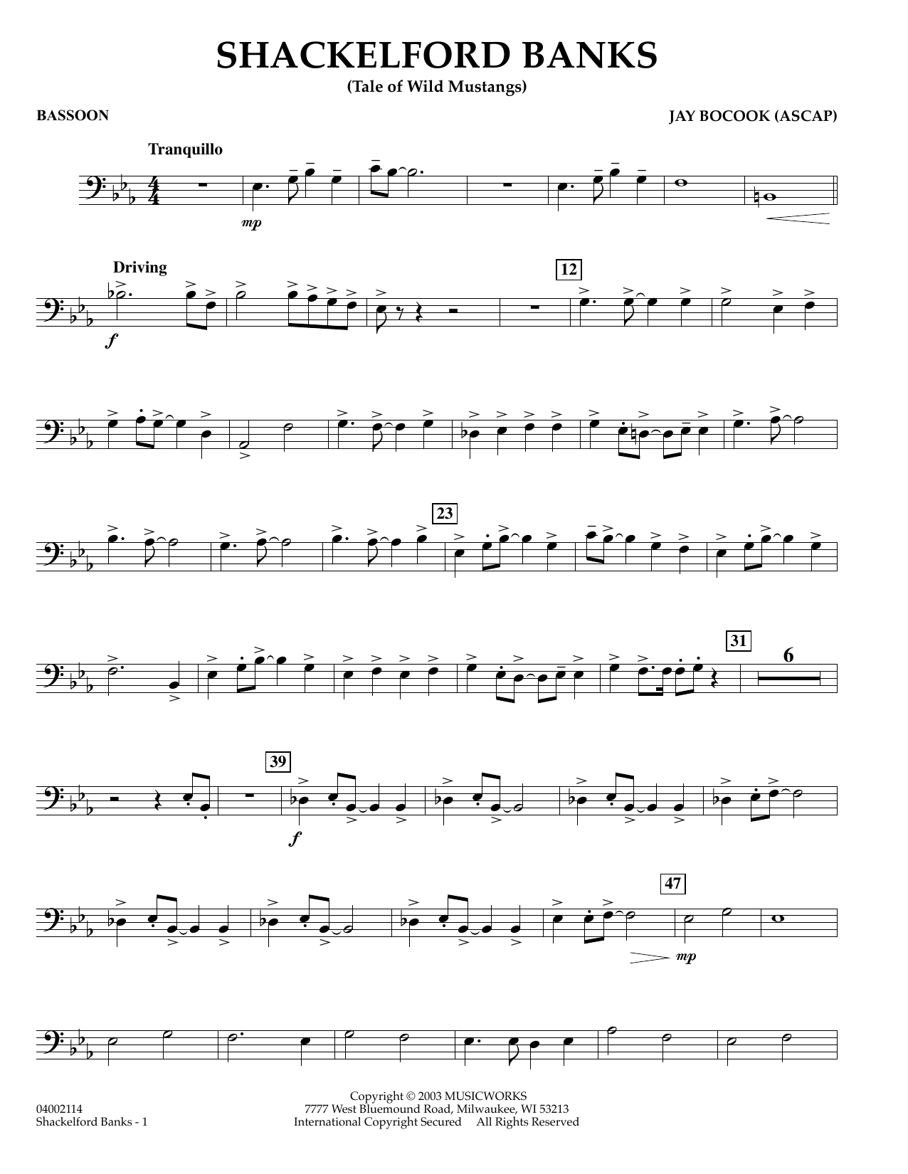 Jay Bocook Shackelford Banks - Bassoon sheet music preview music notes and score for Concert Band including 2 page(s)