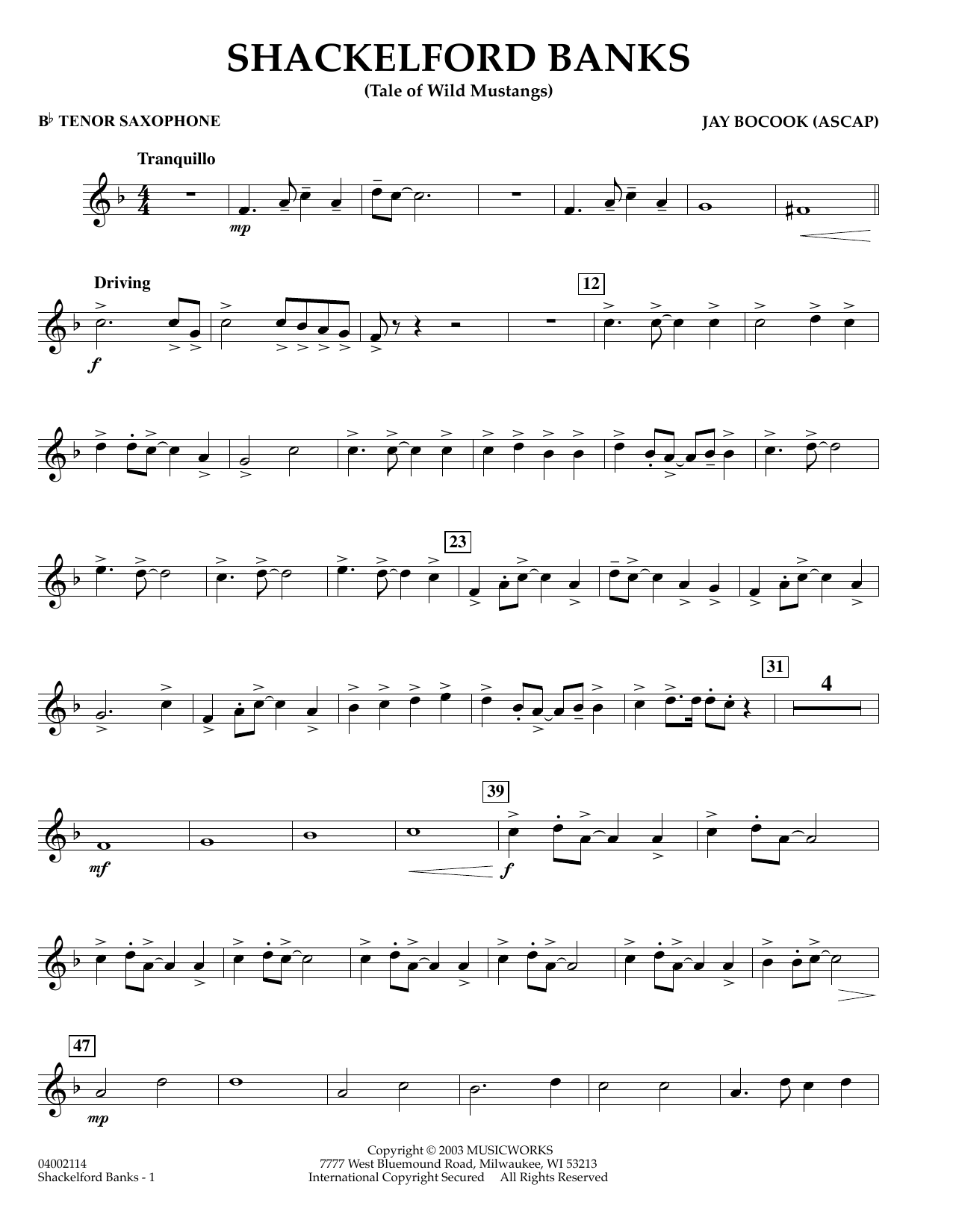 Jay Bocook Shackelford Banks - Bb Tenor Saxophone sheet music preview music notes and score for Concert Band including 2 page(s)