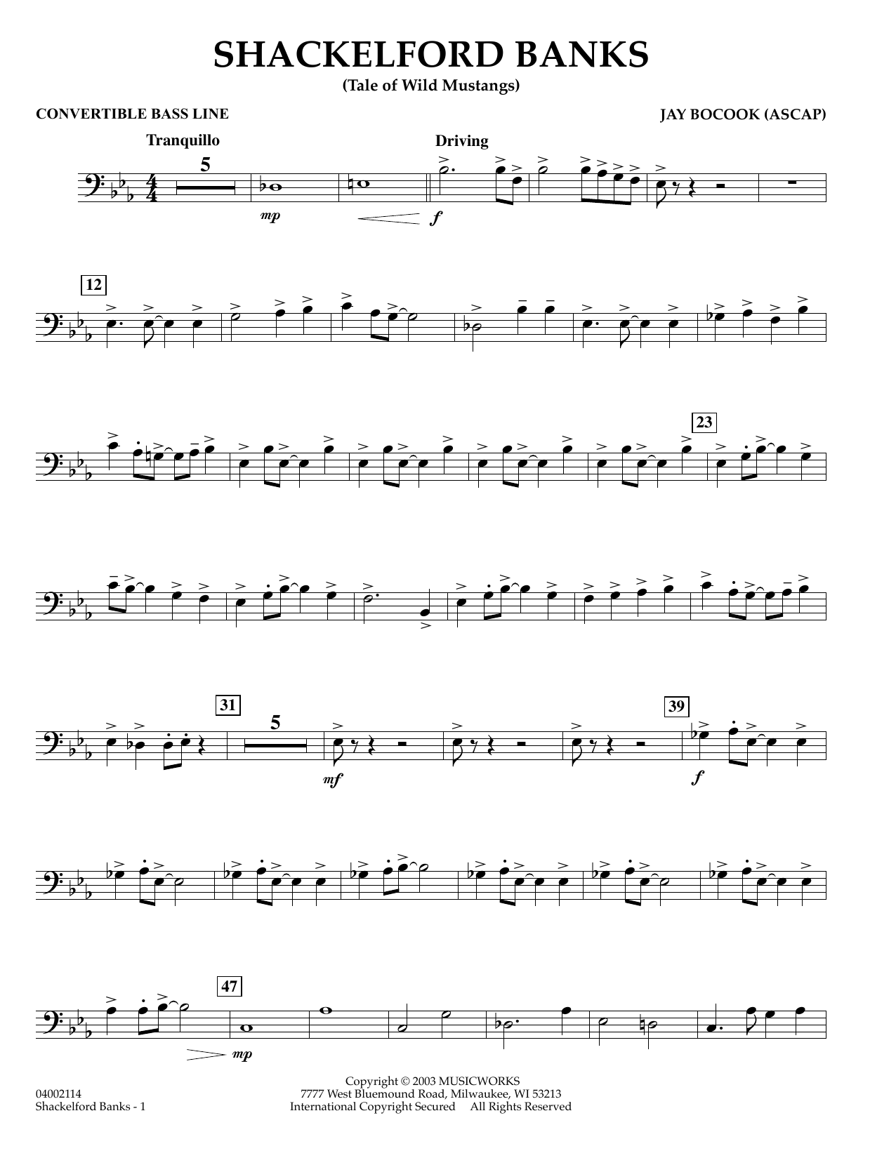 Jay Bocook Shackelford Banks - Convertible Bass Line sheet music preview music notes and score for Concert Band including 2 page(s)