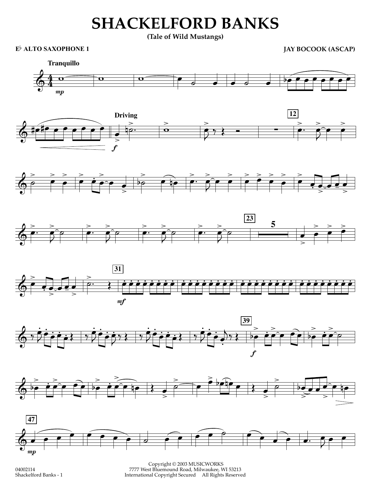 Jay Bocook Shackelford Banks - Eb Alto Saxophone 1 sheet music preview music notes and score for Concert Band including 2 page(s)