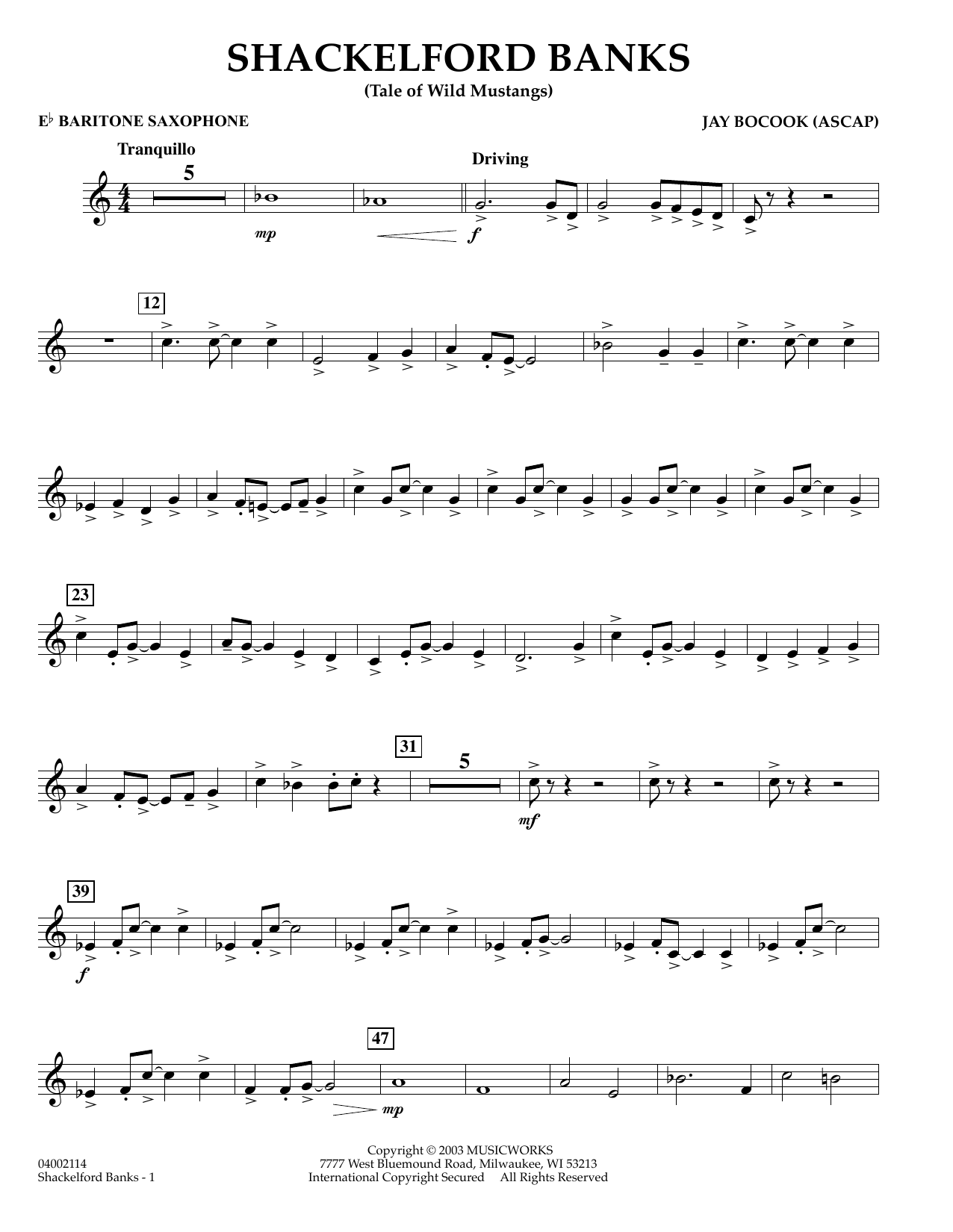 Jay Bocook Shackelford Banks - Eb Baritone Saxophone sheet music preview music notes and score for Concert Band including 2 page(s)