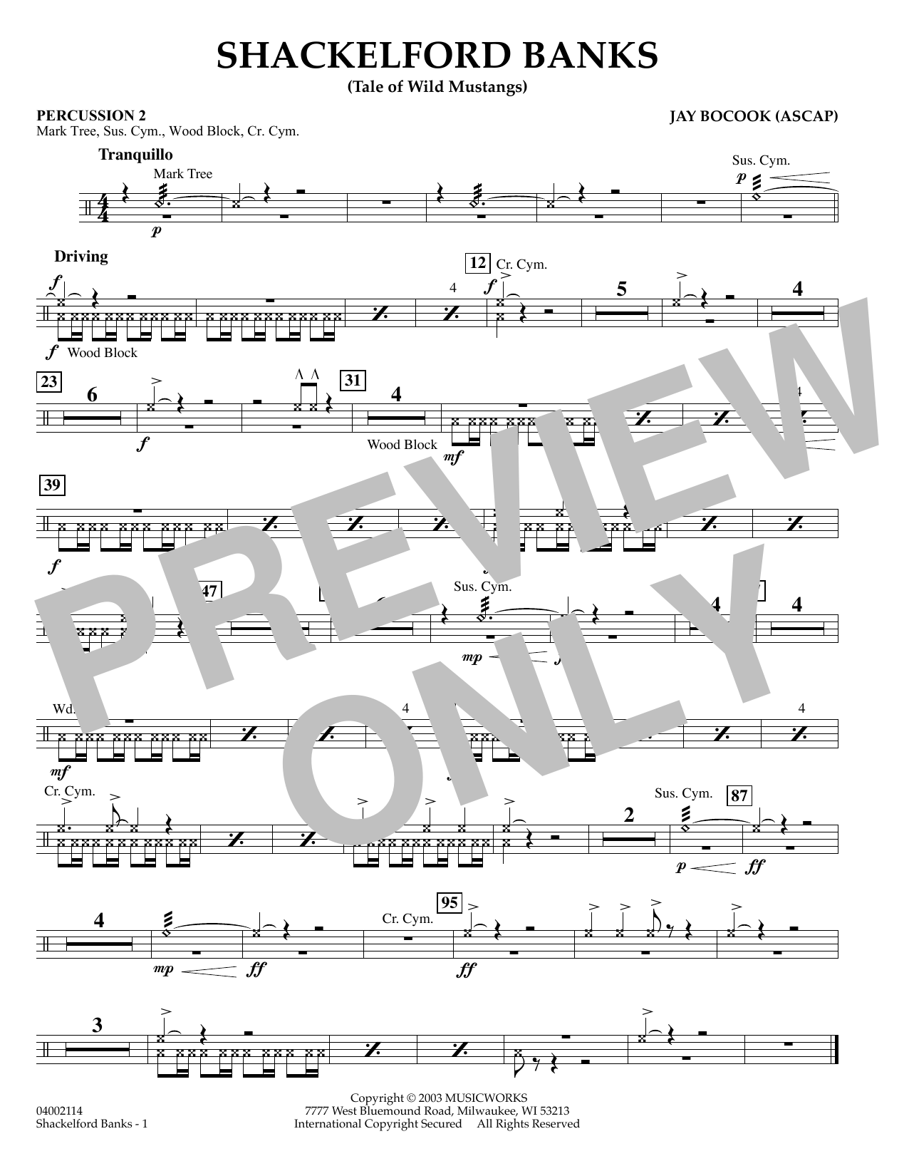 Jay Bocook Shackelford Banks - Percussion 2 sheet music preview music notes and score for Concert Band including 1 page(s)