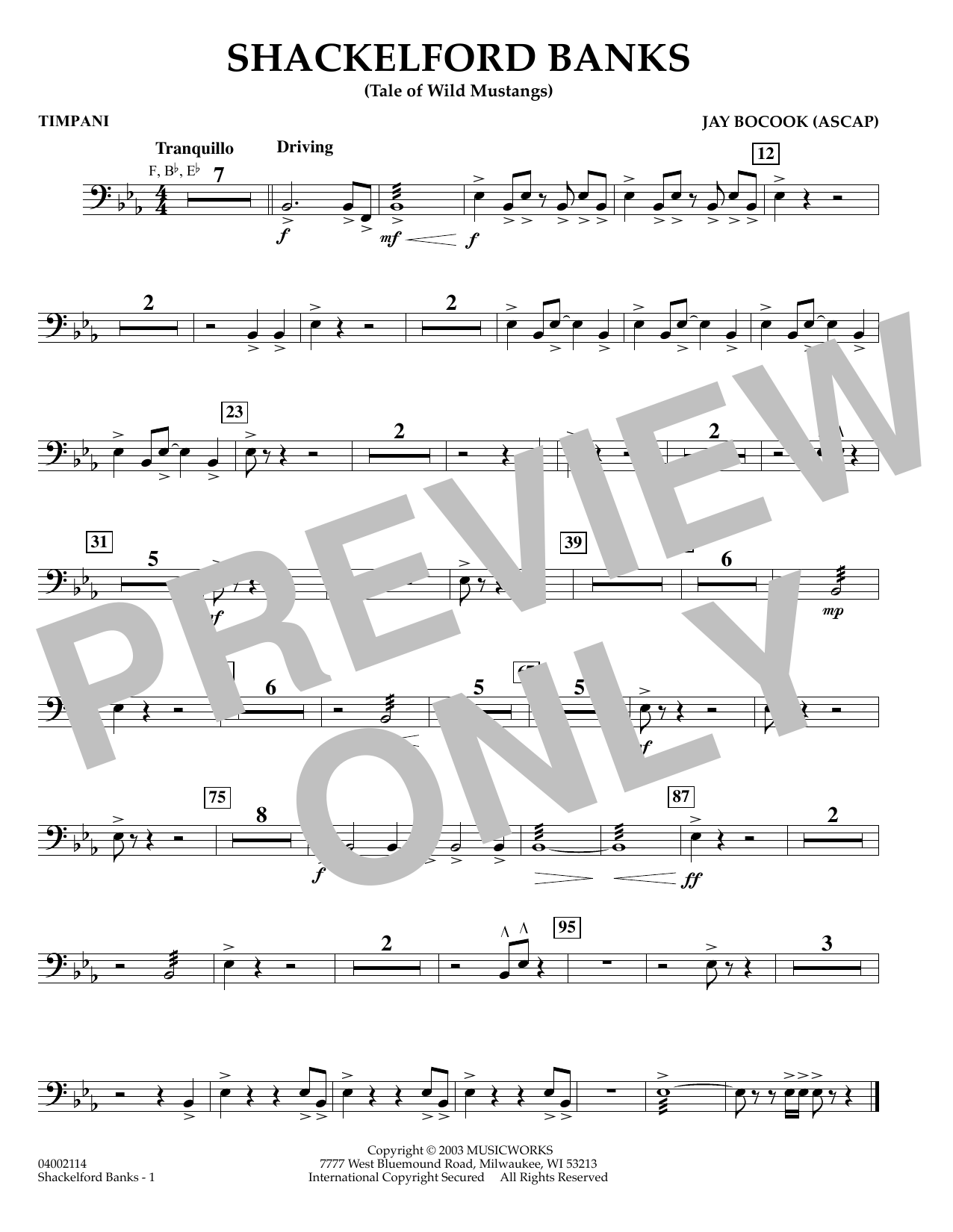 Jay Bocook Shackelford Banks - Timpani sheet music preview music notes and score for Concert Band including 1 page(s)