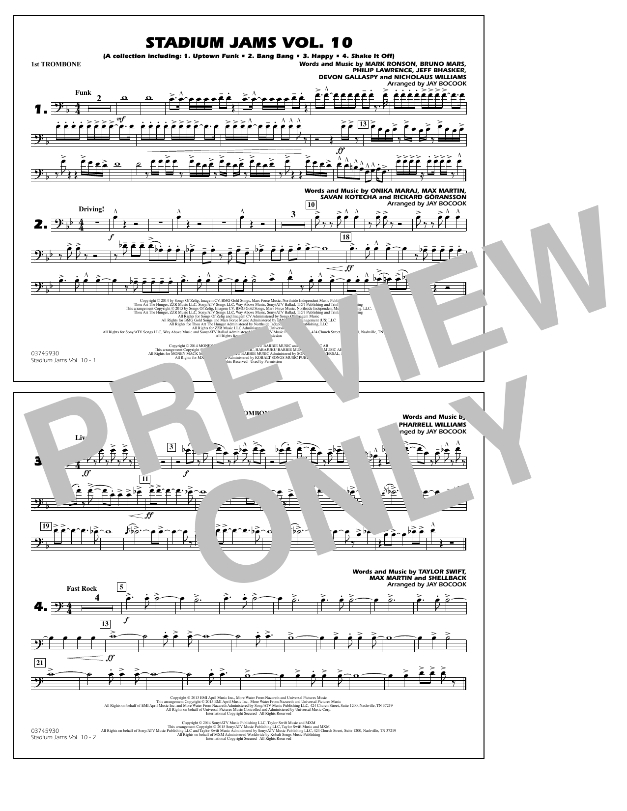 Download Jay Bocook 'Stadium Jams Vol. 10 - 1st Trombone' Digital Sheet Music Notes & Chords and start playing in minutes
