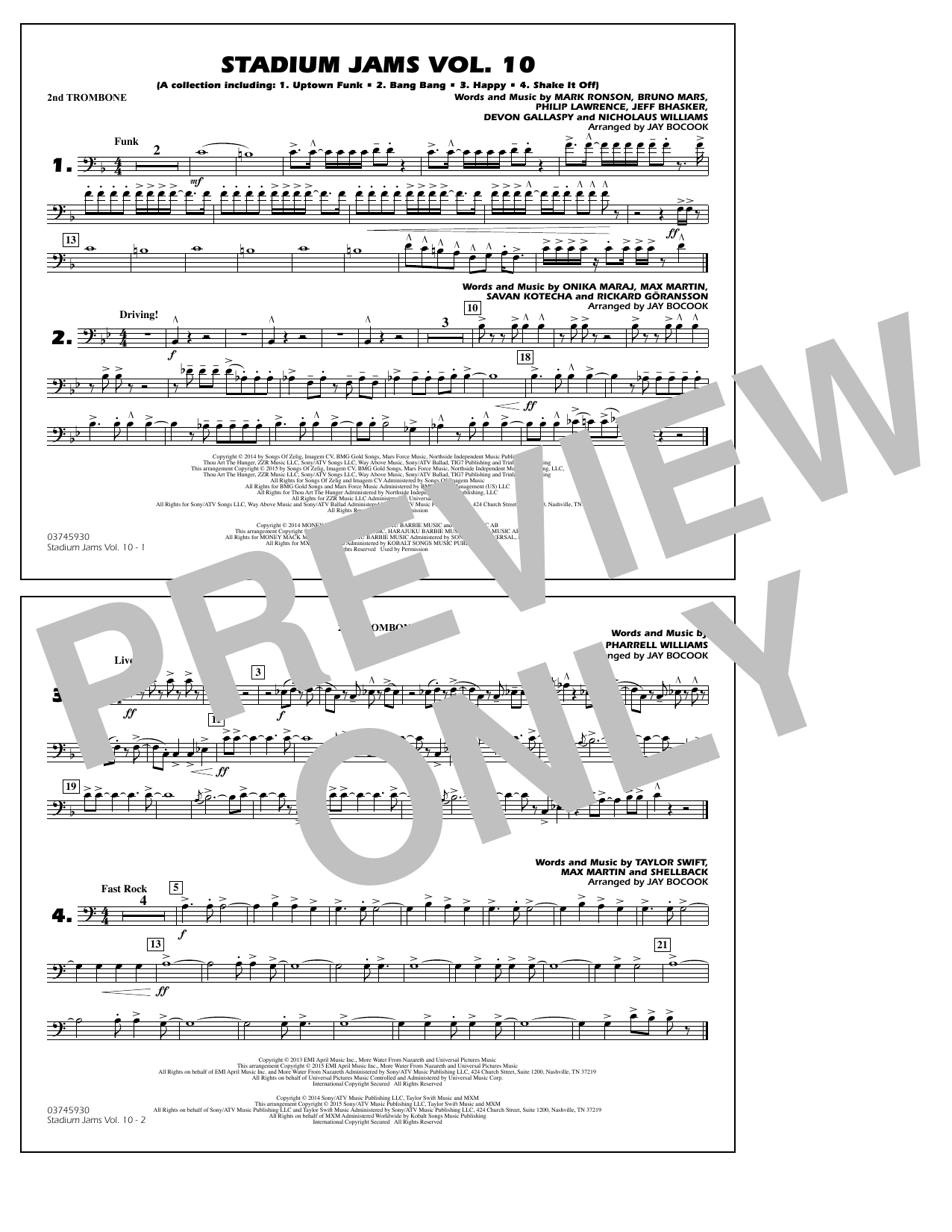 Download Jay Bocook 'Stadium Jams Vol. 10 - 2nd Trombone' Digital Sheet Music Notes & Chords and start playing in minutes