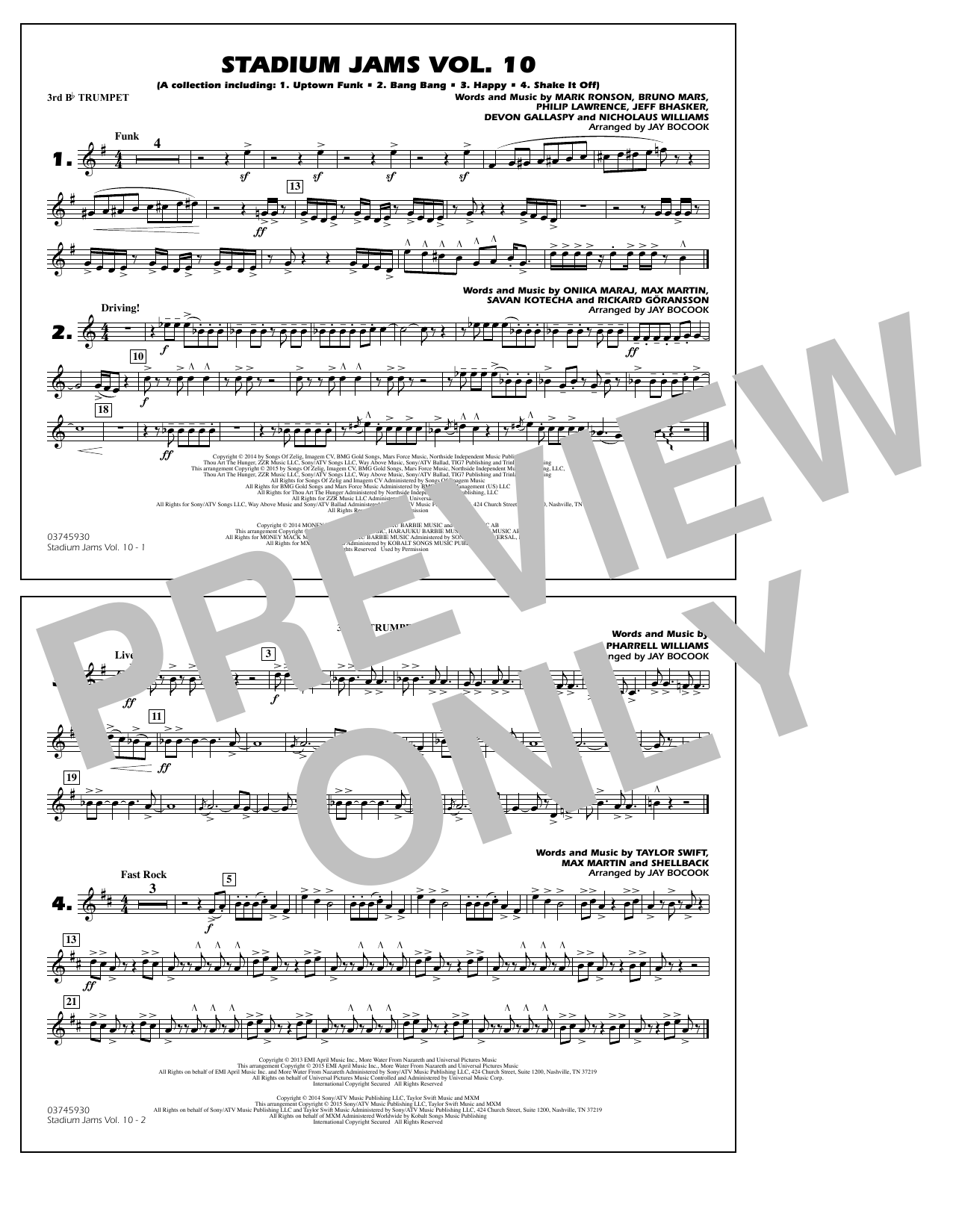 Download Jay Bocook 'Stadium Jams Vol. 10 - 3rd Bb Trumpet' Digital Sheet Music Notes & Chords and start playing in minutes