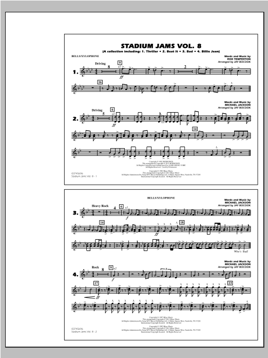 Download Jay Bocook 'Stadium Jams Volume 8 (Michael Jackson) - Bells/Xylophone' Digital Sheet Music Notes & Chords and start playing in minutes