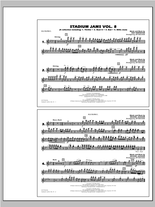 Download Jay Bocook 'Stadium Jams Volume 8 (Michael Jackson) - Flute/Piccolo' Digital Sheet Music Notes & Chords and start playing in minutes