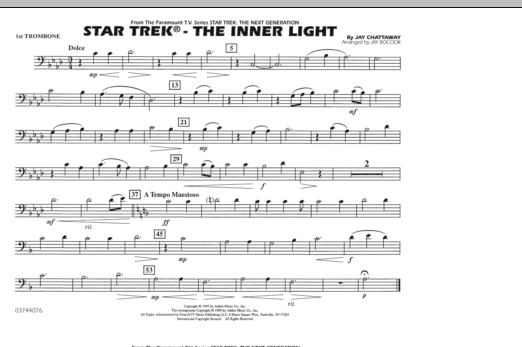Jay Bocook Star Trek - The Inner Light - 1st Trombone sheet music preview music notes and score for Marching Band including 1 page(s)