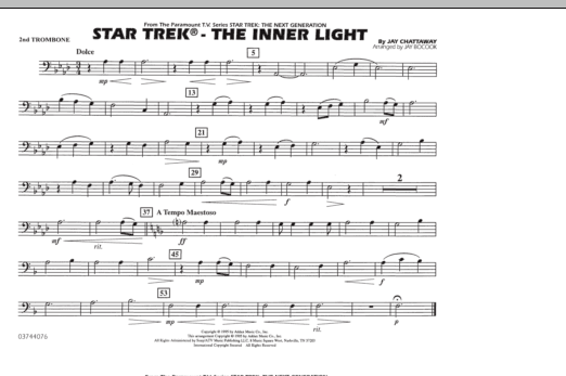 Jay Bocook Star Trek - The Inner Light - 2nd Trombone sheet music preview music notes and score for Marching Band including 1 page(s)