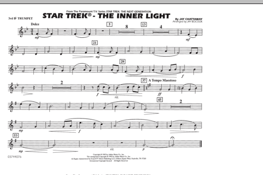 Jay Bocook Star Trek - The Inner Light - 3rd Bb Trumpet sheet music preview music notes and score for Marching Band including 1 page(s)