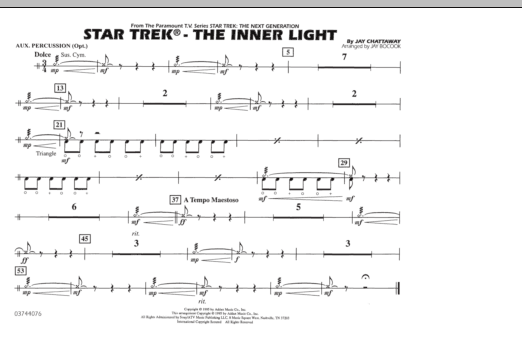 Jay Bocook Star Trek - The Inner Light - Aux Percussion sheet music preview music notes and score for Marching Band including 1 page(s)