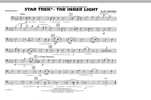 Jay Bocook Star Trek - The Inner Light - Baritone B.C. sheet music preview music notes and score for Marching Band including 1 page(s)