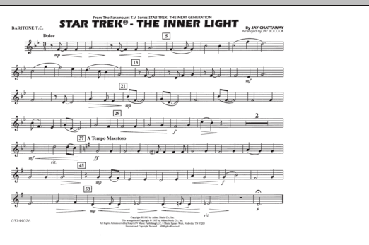 Jay Bocook Star Trek - The Inner Light - Baritone T.C. sheet music preview music notes and score for Marching Band including 1 page(s)