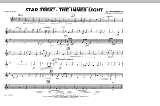 Jay Bocook Star Trek - The Inner Light - Bb Tenor Sax sheet music preview music notes and score for Marching Band including 1 page(s)