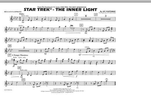 Jay Bocook Star Trek - The Inner Light - Bells/Xylophone sheet music preview music notes and score for Marching Band including 1 page(s)