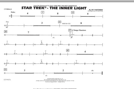 Jay Bocook Star Trek - The Inner Light - Cymbals sheet music preview music notes and score for Marching Band including 1 page(s)