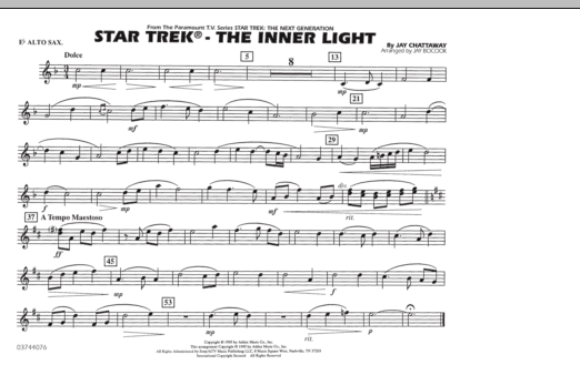 Jay Bocook Star Trek - The Inner Light - Eb Alto Sax sheet music preview music notes and score for Marching Band including 1 page(s)