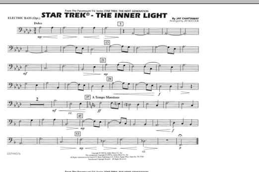 Jay Bocook Star Trek - The Inner Light - Electric Bass sheet music preview music notes and score for Marching Band including 1 page(s)