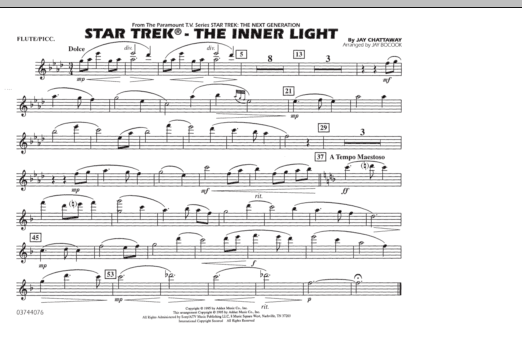 Jay Bocook Star Trek - The Inner Light - Flute/Piccolo sheet music preview music notes and score for Marching Band including 1 page(s)