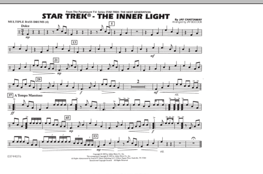Jay Bocook Star Trek - The Inner Light - Multiple Bass Drums sheet music preview music notes and score for Marching Band including 1 page(s)