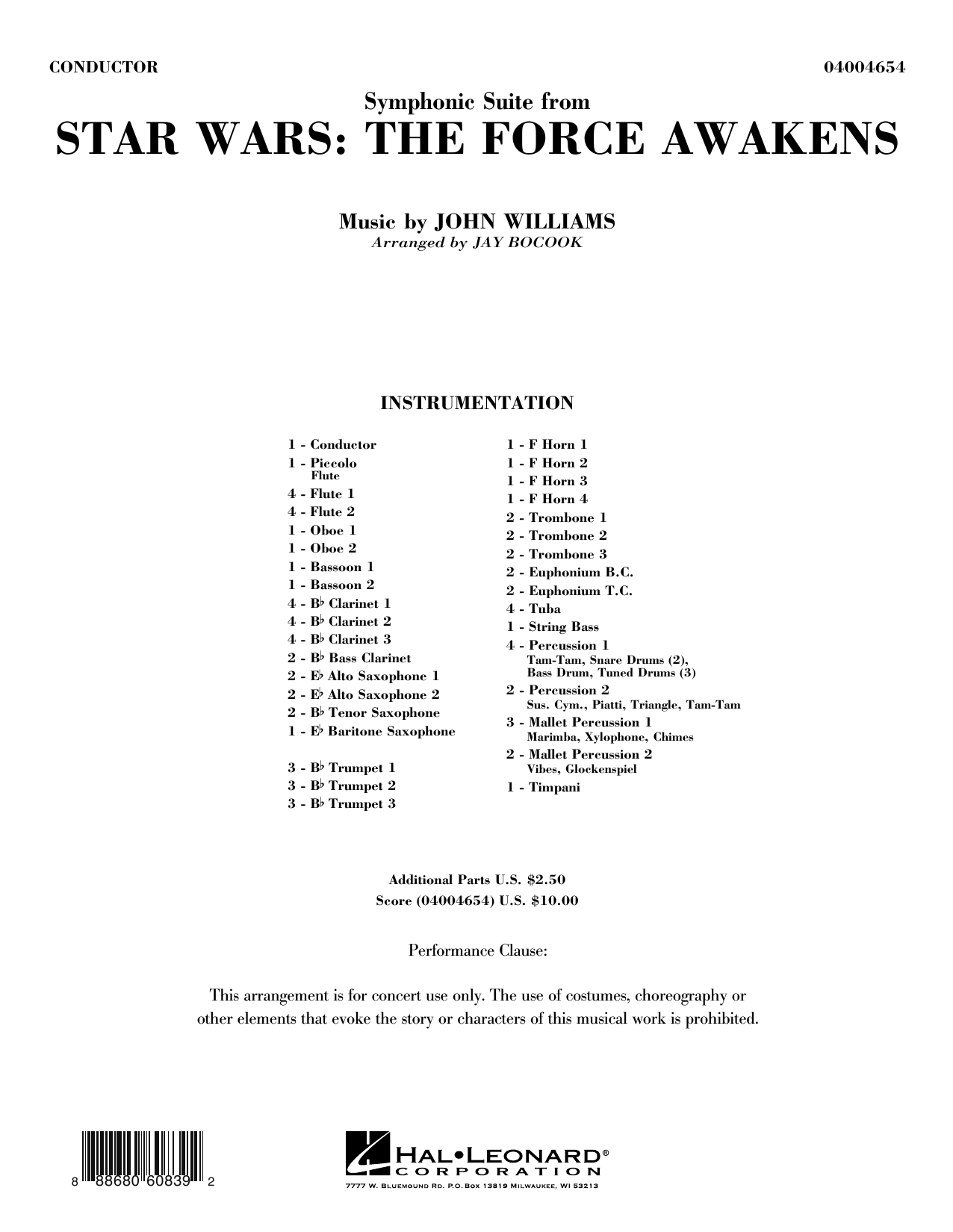 Jay Bocook Symphonic Suite from Star Wars: The Force Awakens - Conductor Score (Full Score) sheet music preview music notes and score for Concert Band including 36 page(s)
