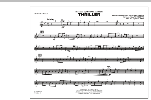 Jay Bocook Thriller - 1st Bb Trumpet sheet music preview music notes and score for Marching Band including 1 page(s)