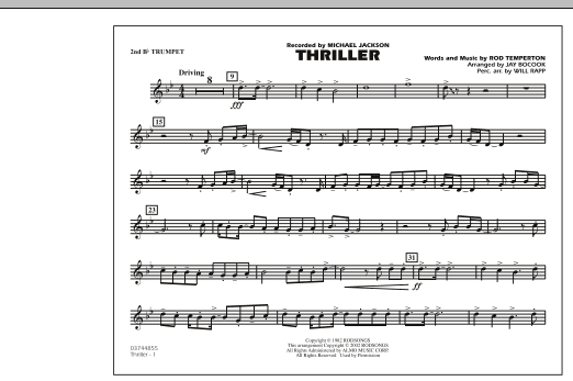 Jay Bocook Thriller - 2nd Bb Trumpet sheet music preview music notes and score for Marching Band including 1 page(s)