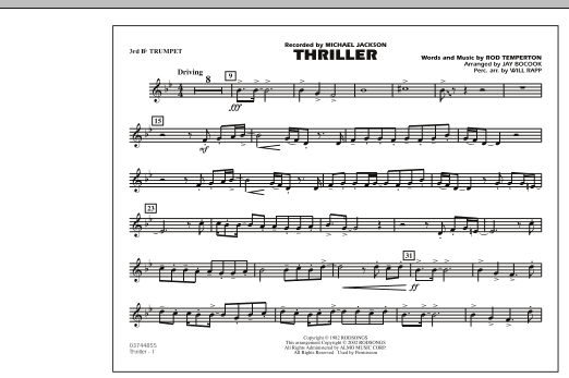 Jay Bocook Thriller - 3rd Bb Trumpet sheet music preview music notes and score for Marching Band including 1 page(s)
