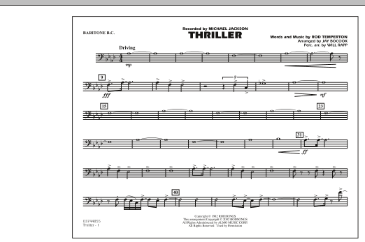 Jay Bocook Thriller - Baritone B.C. sheet music preview music notes and score for Marching Band including 1 page(s)