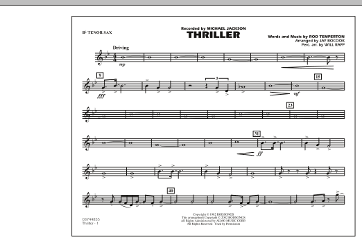 Jay Bocook Thriller - Bb Tenor Sax sheet music preview music notes and score for Marching Band including 1 page(s)