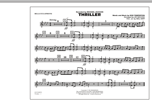 Jay Bocook Thriller - Bells/Xylophone sheet music preview music notes and score for Marching Band including 1 page(s)