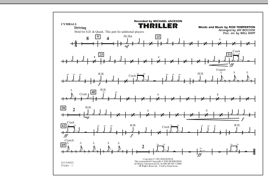 Jay Bocook Thriller - Cymbals sheet music preview music notes and score for Marching Band including 1 page(s)